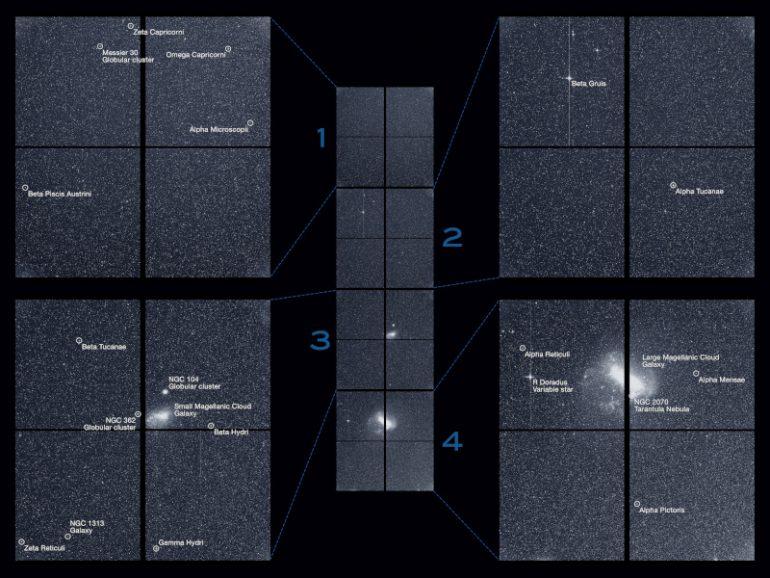 Телескоп TESS передал на Землю изображение первого света, сделанное при помощи всех четырех камер