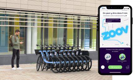 Французский стартап Zoov запускает сервис проката электровелосипедов, которые крепятся друг к другу для защиты от угона