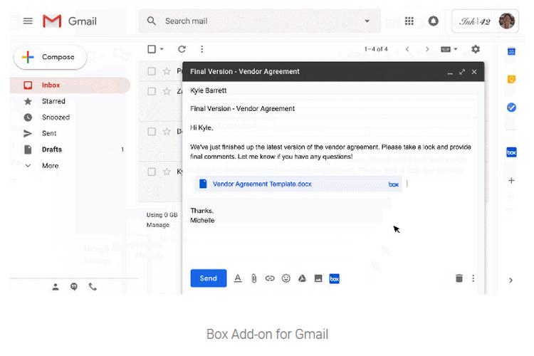 Google добавила в Gmail интеграцию некоторых функций сервисов Dropbox, Box, Jira и Egnyte