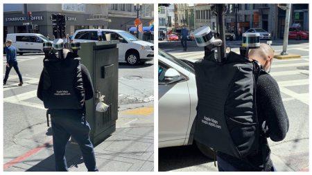 На улицах Сан-Франциско заметили мужчину в необычной экипировке и с пометкой Apple Maps