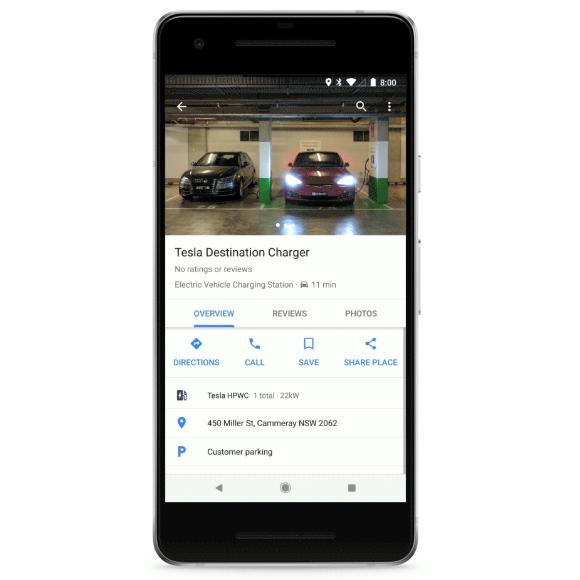 На Google Maps теперь отображается информация о зарядных станциях для электромобилей, включая тип, мощность и свободные порты