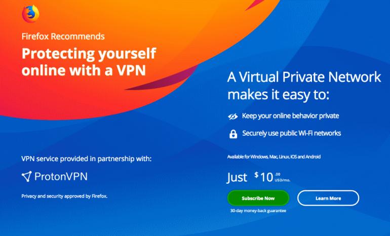 Mozilla встроит в Firefox подписку на ProtonVPN, причем по более высокой цене, чем напрямую через сайт сервиса