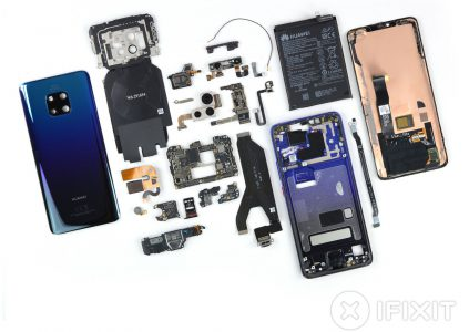 IFixit disassembled the Huawei Mate 20 Pro smartphone and rated its maintainability on 4 out of 10