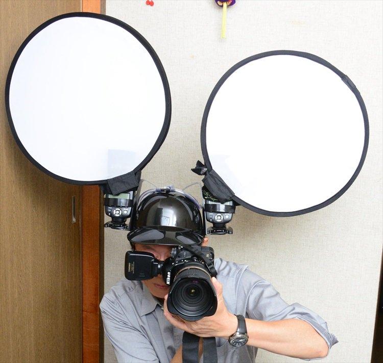 Японский фотограф превратил пивной шлем в необычную подставку для вспышек
