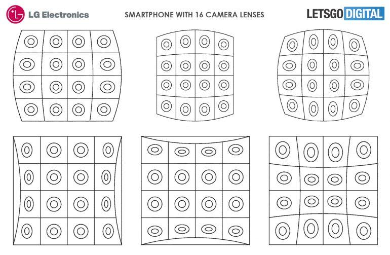 LG запатентовала смартфон с 16-ю камерами на задней панели