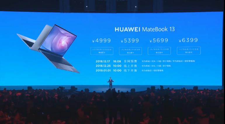 Тонкий и легкий ноутбук HuaweiMateBook 13 с CPU Intel Core восьмого поколения и 13,3-дюймовым экраном 2K стоит от $725