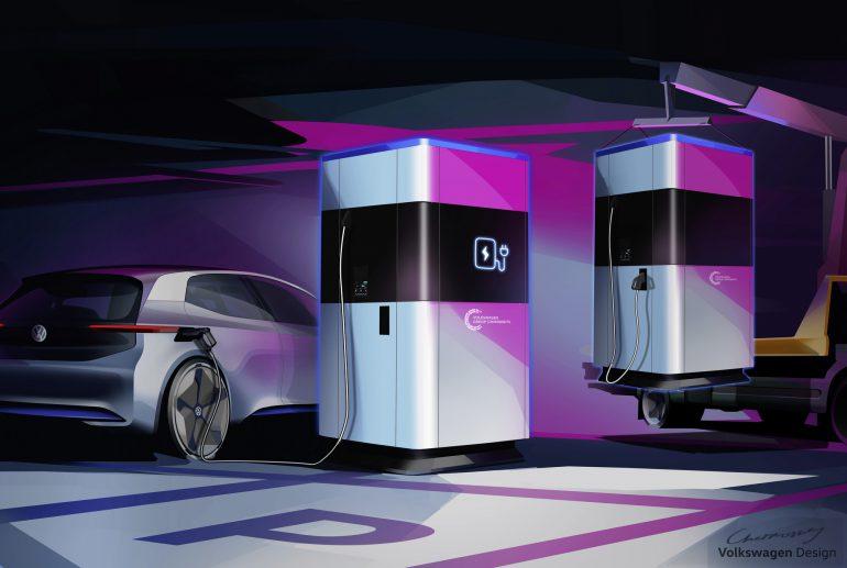 """""""Пауэрбанк для электромобиля"""": Volkswagen представил мобильные скоростные зарядки для электромобилей с внутренней батареей на 360 кВтч"""