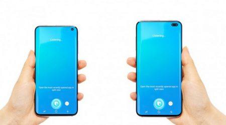 Фото передней панели Samsung Galaxy S10+ демонстрирует овальное отверстие под сдвоенную камеру