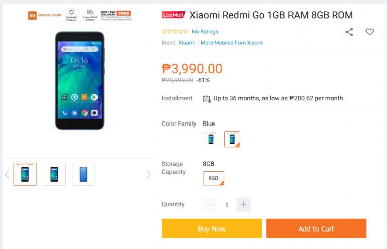 Стоимость смартфона Xiaomi Redmi Go снизили с 80 до 66 евро (≈2000 грн), продажи на Филиппинах начнутся уже 3 февраля