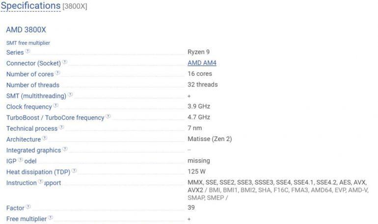 Опубликованы характеристики и цены процессоров AMD Ryzen 3000 на базе архитектуры Zen 2: флагман Ryzen 9 получил 16 вычислительных ядер