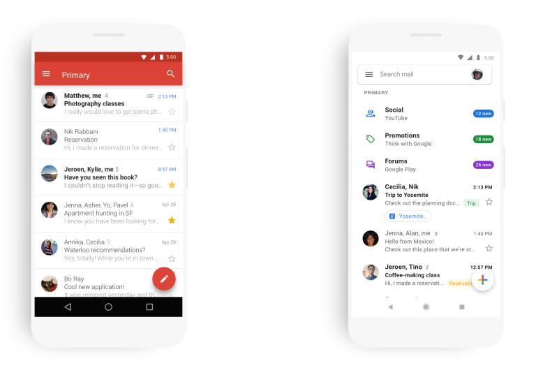 Приложение Gmail для Android обновилось, получив новый дизайн и расширенные возможности