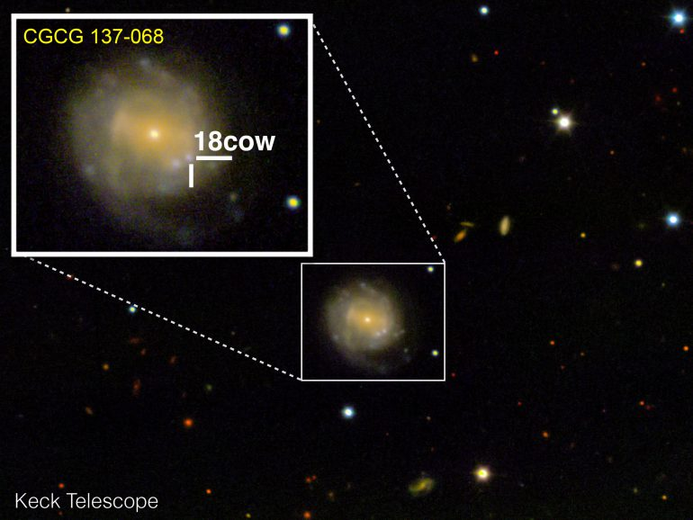 Астрономы впервые увидели рождение сверхмассивного объекта (черной дыры или нейтронной звезды) за пределами Млечного пути
