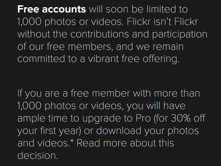 Flickr продлил крайний срок удаления «лишних» фотографий и видео из бесплатных аккаунтов до 12 марта 2019 года (должно остаться не более 1000 файлов)