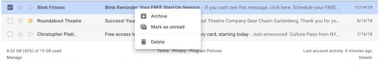 Google наконец-то расширила функциональность контекстного меню в веб-версии Gmail. Нажатием правой кнопки мыши теперь можно отвечать на письма, пересылать их, откладывать и много чего еще