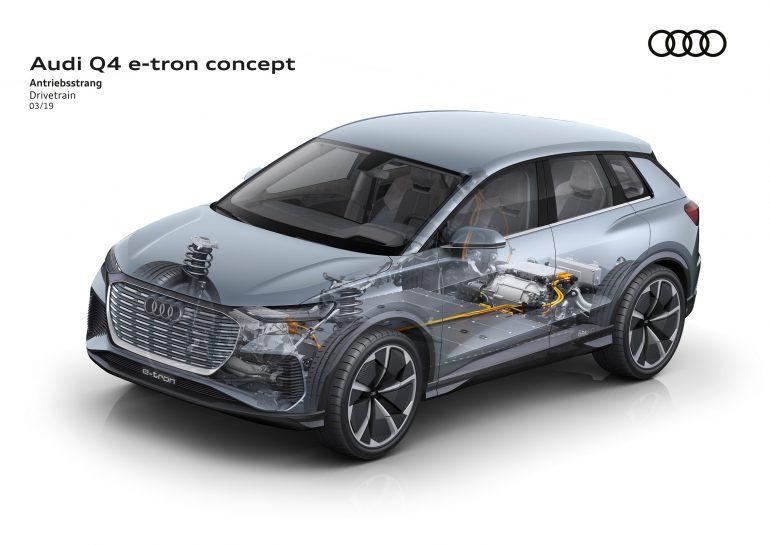 омпактный электрокроссовер Audi Q4 e-tron получил платформу VW MEB, два электродвигател¤ мощностью 225 к¬т, батарею на 82 к¬тч и запас хода 450 км по циклу WLTP [∆енева 2019]