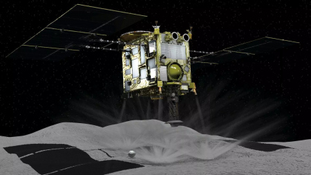Забор грунта с астероида Ryugu зондом Hayabusa-2 — как это было (таймлапс)