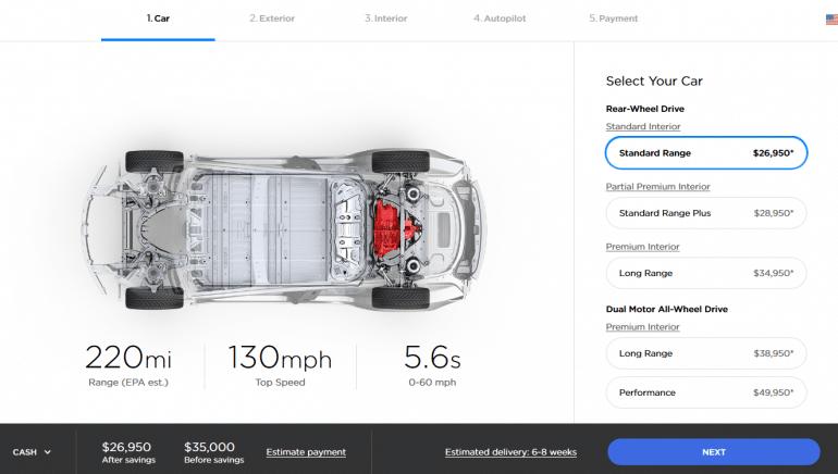 Tesla Model 3 лишилась версии с батареей Mid Range, зато получила 5% прирост мощности с помощью программного апдейта