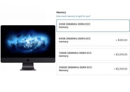 Apple iMac Pro теперь можно оснастить 256 ГБ ОЗУ — «всего» за $5200 (базовый iMac Pro стоит на $200 дешевле)
