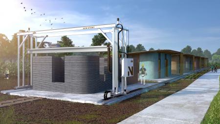 ICON представила вторую версию своего фирменного 3D-принтера Vulcan, предназначенного для производства одноэтажных жилых зданий