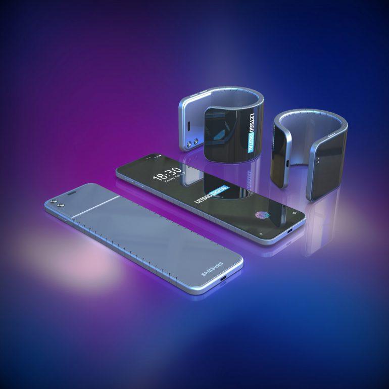 Samsung также запатентовала смартфон с гибким экраном, который надевается на руку как браслет