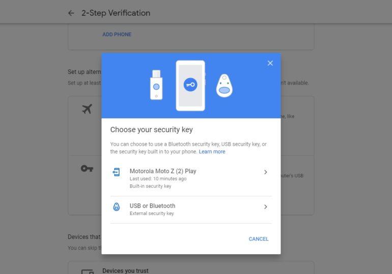 Google теперь разрешает использовать Android-смартфон в качестве аппаратного ключа безопасности для двухфакторной аутентификации (2FA)