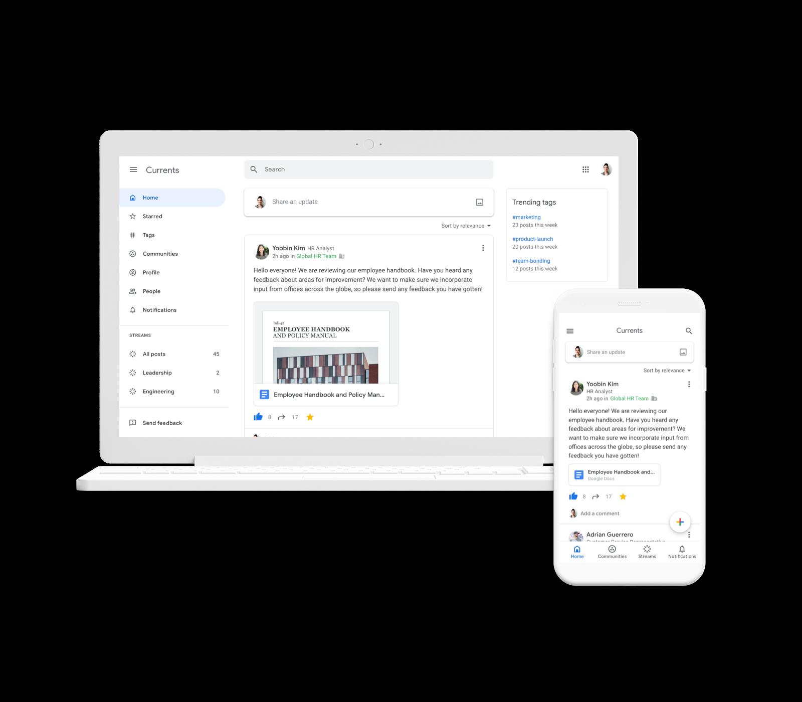 Google запустила Currents в рамках пакета G Suite — соцсеть для компаний