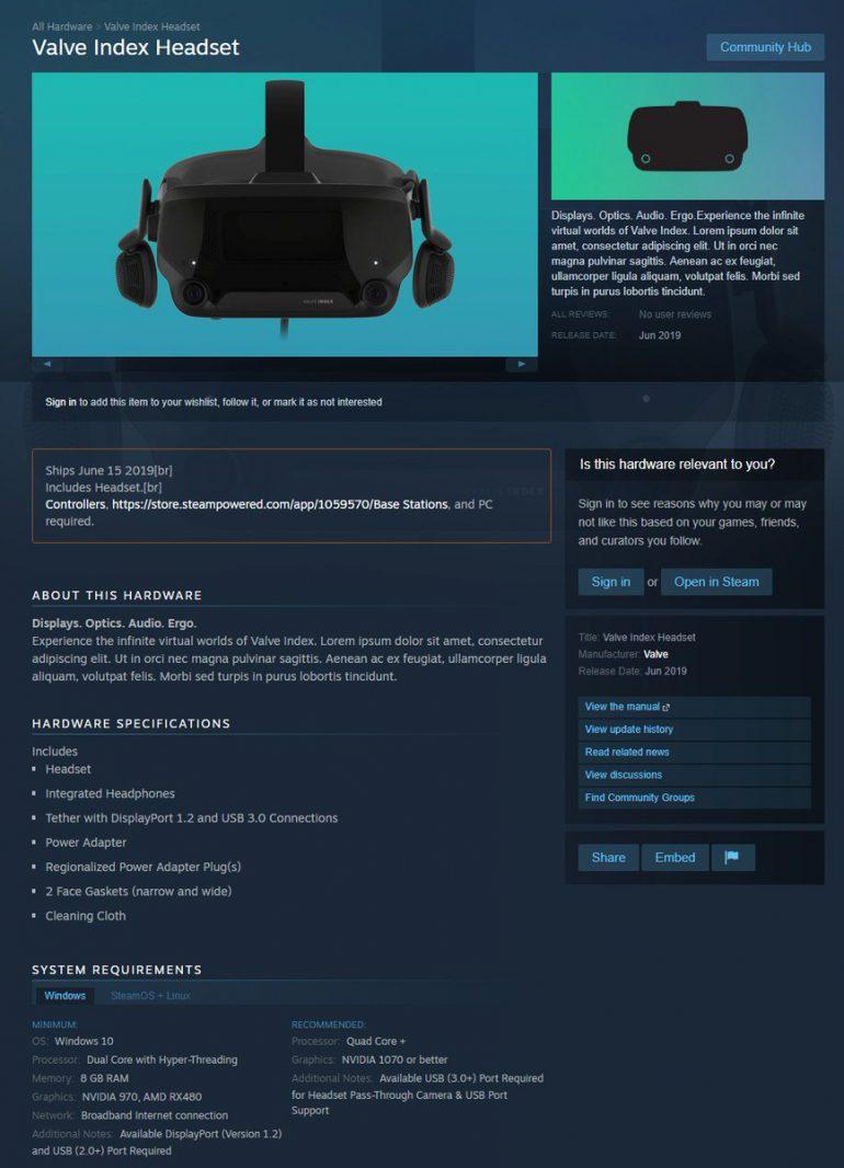 Страничка шлема виртуальной реальности Valve Index всплыла в Steam раньше времени, продажи стартуют в июне