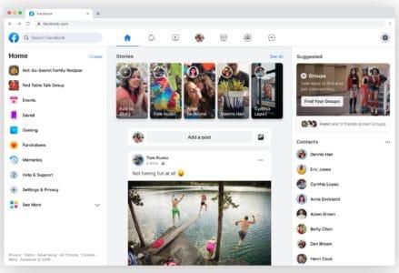 Новый дизайн Facebook: без синей плашки меню, с уклоном в белый цвет и с фокусом на группы