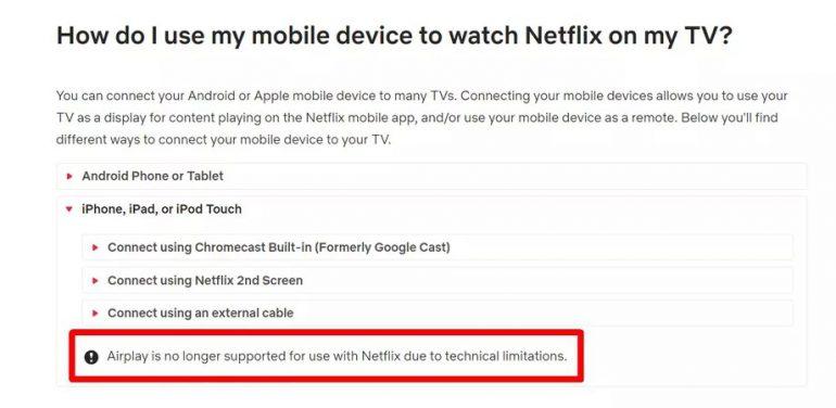 Netflix подтвердил, что убрал поддержку AirPlay в своем приложении для iOS по техническим причинам