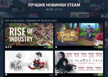 Steam опубликовал Топ 20 самых продаваемых новых игр за май 2019 года