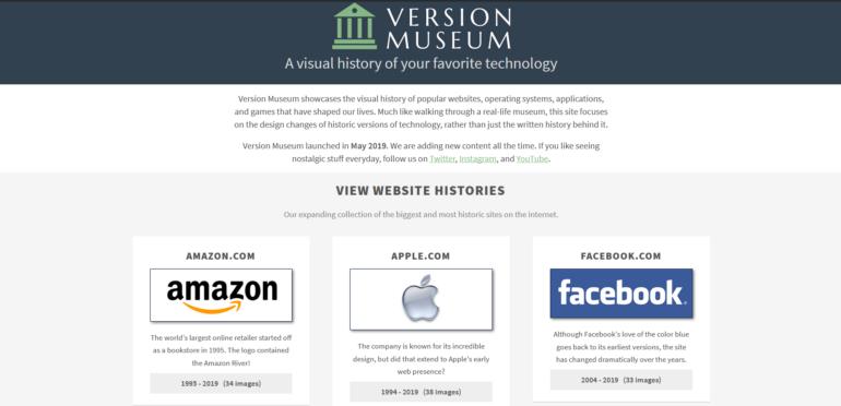"""В интернете появился """"музей"""", представляющий собой онлайн-коллекцию прошлых версий популярных сайтов и сервисов"""