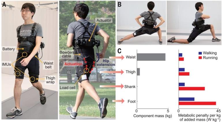 Портативный экзоскелет, разработанный командой американских и южнокорейских инженеров, облегчает ходьбу и бег
