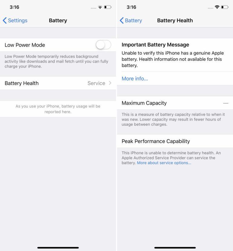 """Apple начала предупреждать владельцев iPhone о неавторизованной замене батарей, сообщение убирает полезную информацию о ее """"здоровье"""""""