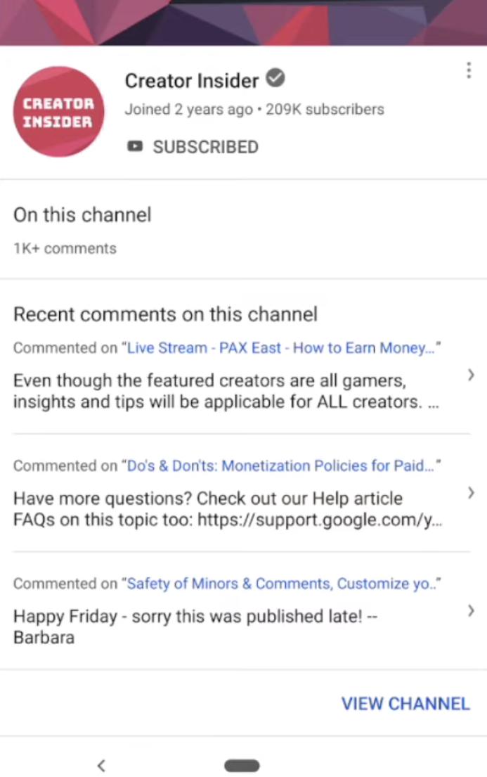 YouTube тестирует «карточки профилей» — по ним авторы каналов смогут узнать, какие комментарии оставляет тот или иной пользователей под их видео