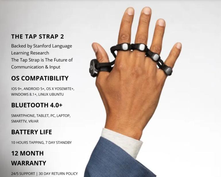 Технокастет Tap Strap 2 совмещает в себе клавиатуру и мышку