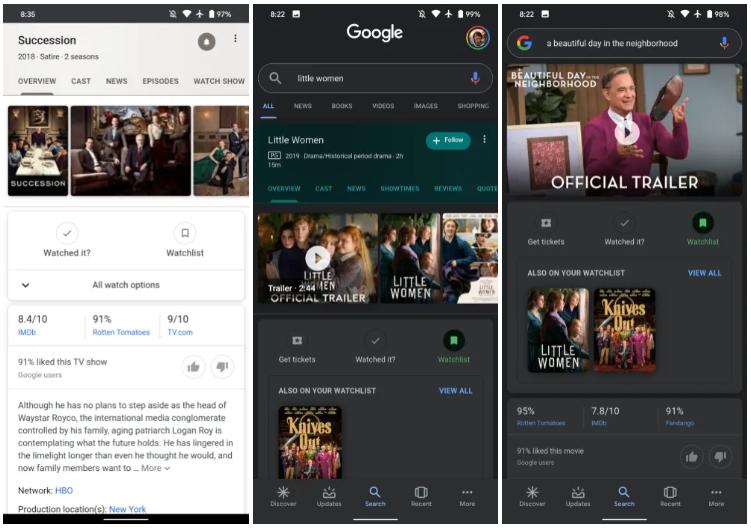 Поиск Google теперь позволяет добавлять фильмы и сериалы в коллекцию для дальнейшего просмотра