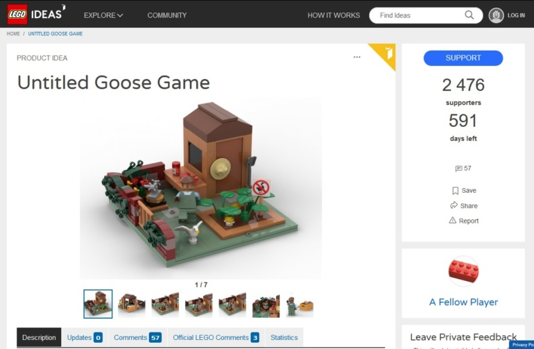 Фанат игры Untitled Goose Game создал Lego-набор по ее мотивам. Если проект соберет 10 тыс. голосов, его могут выпустить официально