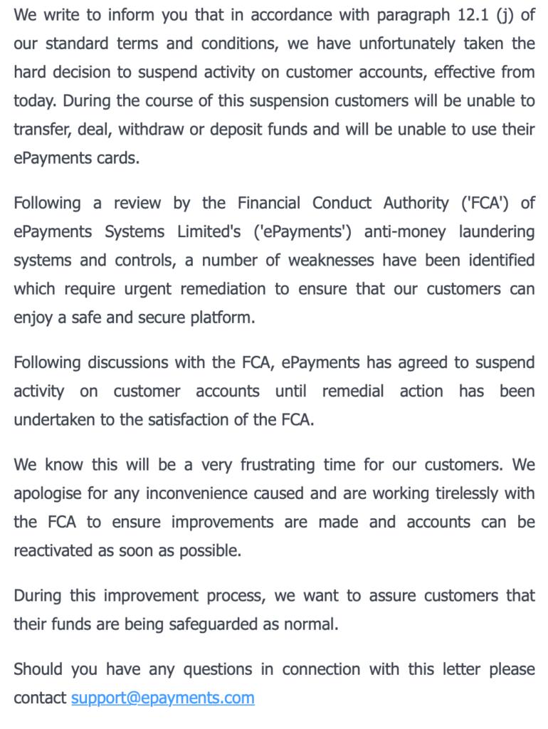 Платежный сервис ePayments приостановил работу и заблокировал вывод средств по требованию британского регулятора