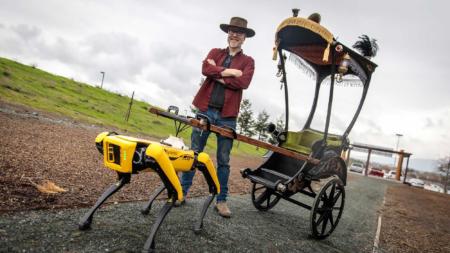 Адам Сэвидж запряг робопса Spot в рикшу и заставил робота его катать