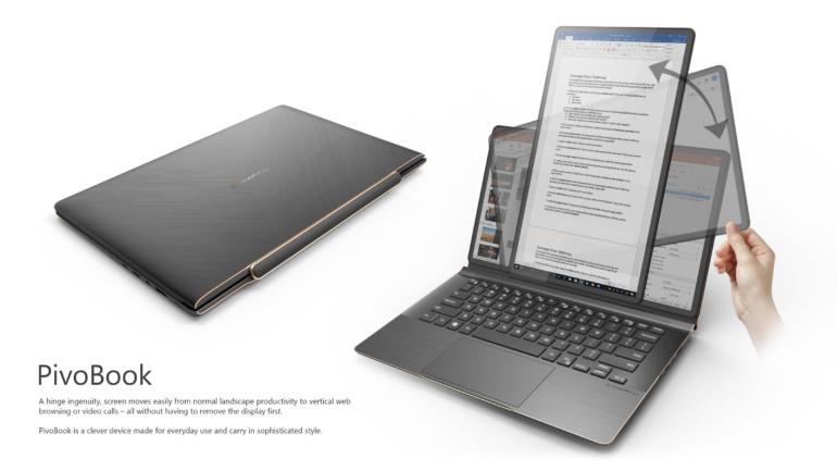 Тайваньская Compal Electronics разработала ноутбук с поворотным экраном PivoBook