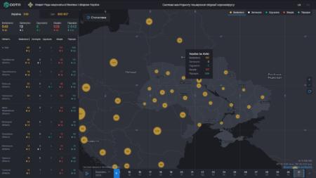 СНБО запустил электронную карту распространения заболеваемости коронавирусной инфекцией COVID-19 в Украине и мире