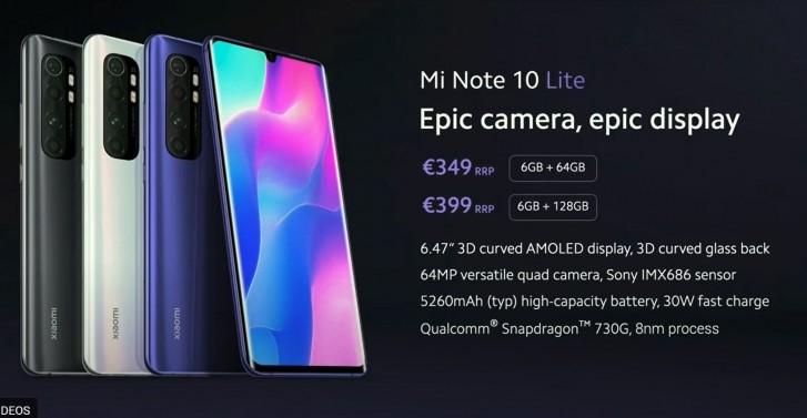 Анонсирован смартфон Xiaomi Mi Note 10 Lite с 6,47-дюймовым AMOLED дисплеем, SoC Snapdragon 730G, NFC и ценой от €350
