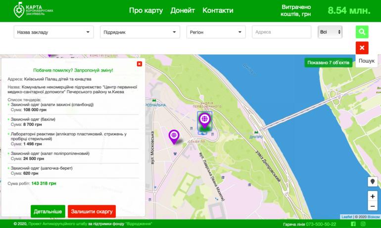В Украине заработала «Карта коронавирусных закупок», она показывает закупки медучереждений, направленные на борьбу с COVID-19