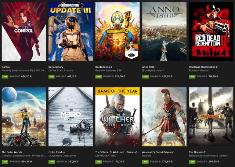 """В Epic Games Store стартовала """"Мегараспродажа Epic 2020"""" со скидками на игры до 75% и бесплатным купоном на 300 грн"""