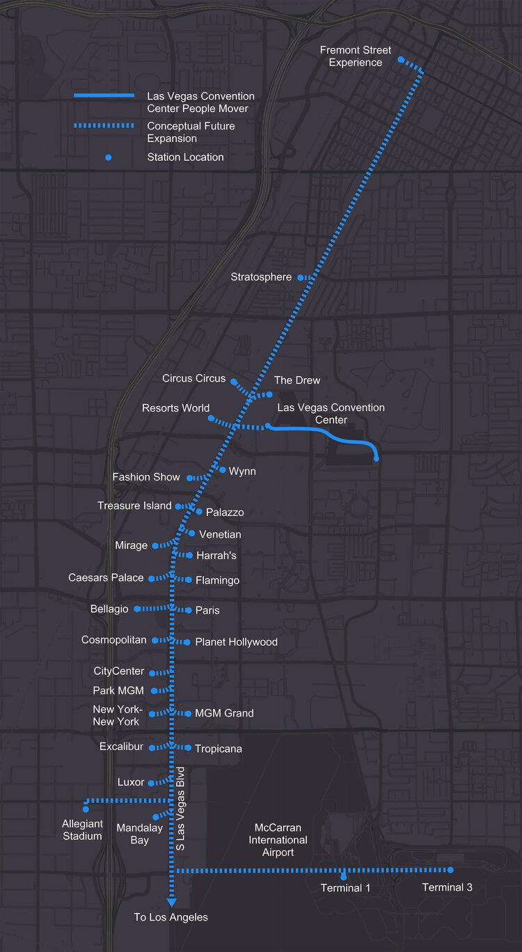 Недавно проложенные тоннели под Лас-Вегасом — это лишь начало. The Boring Company показала карту тоннелей с расширением маршрута вплоть до Лос-Анджелеса