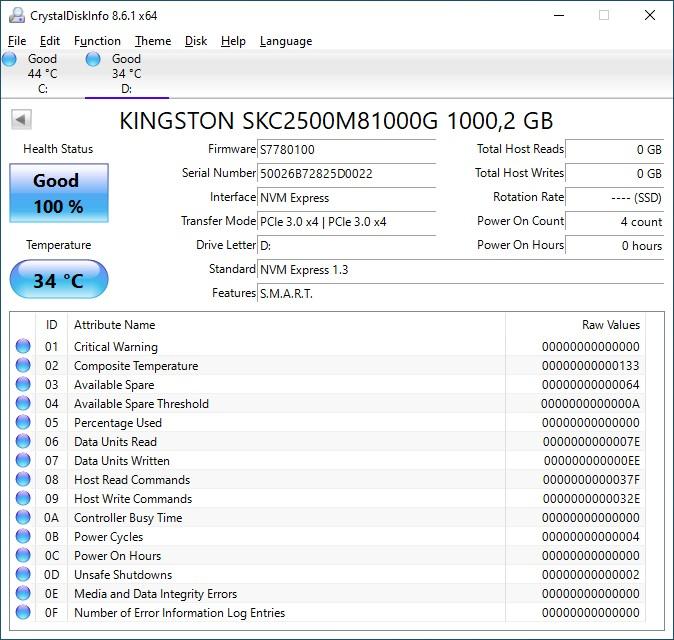 Обзор накопителя Kingston KC2500 1 ТБ