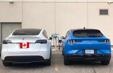 Фото: Tesla Model Y и Ford Mustang Mach-E «бок о бок»