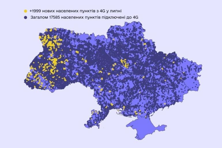 Минцифры: За июль мобильные операторы подключили к 4G-сетям 900 МГц почти 2000 населенных пунктов с населением 435 тыс.