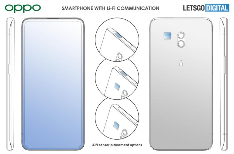 Oppo запатентовала смартфон со сверхбыстрой передачей данных видимым светом Li-Fi (до 20 Гбит/с)