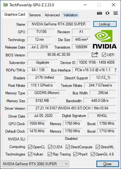 Обзор видеокарты GIGABYTE GeForce RTX 2060 SUPER GAMING OC 3X 8G